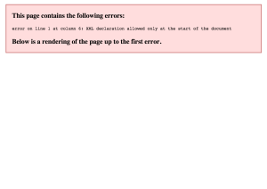 error on line 1 at column 6: XML declaration allowed only at the start of the document